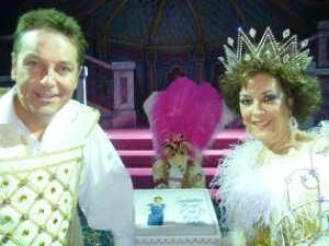 Brian, Basil and Lynda with a special 5th Panto Cake!