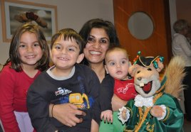 Henry and family meet Basil Brush at Acorns Childrens Hospice