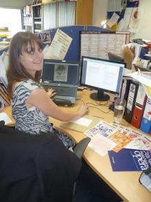Caroline Davis working hard on archiving...