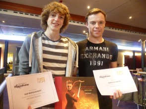Alex and Marcus collect their certificates after 1 year of being Birmingham Hippodrome's First Night Bloggers