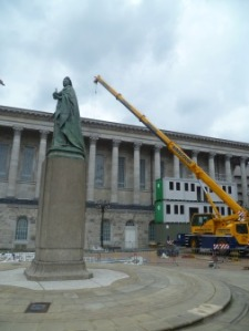 The ship begins to take shape in Victoria Square...