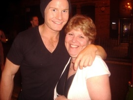 Christine with Rhydian outside Stage Door