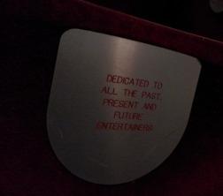 Christine's seat plaque in the auditorium