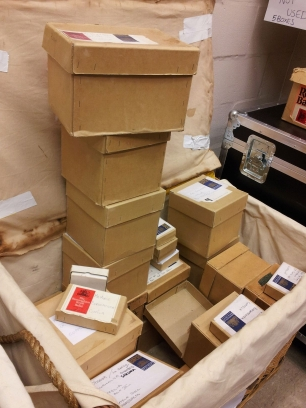Boxes of wigs are used in just the one production