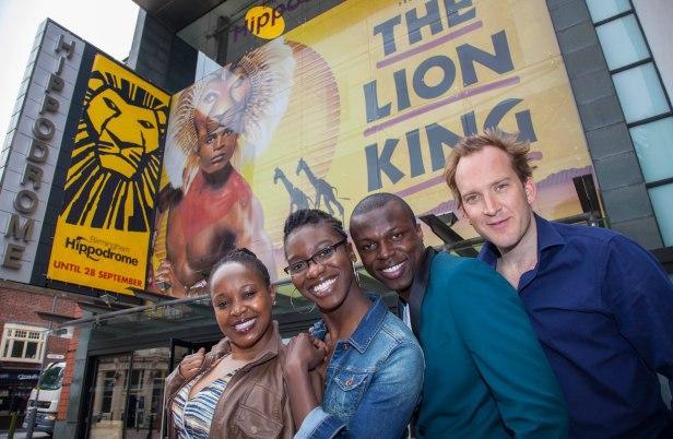 cast members (L-R) Gugwana Dlamini (Rafiki), Carole Stennett (Nala), Nicholas Nkuna (Simba) and Stephen Carlile (Scar) arrive at the theatre..