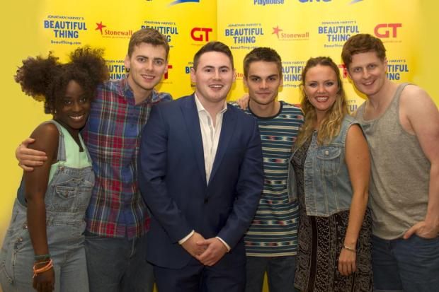 Co-producer Tom with Beautiful Thing cast (L-R: Vanessa Babirye, Thomas Law, Tom O'Connell, Sam Jackson, Charlie Brooks, Gerard McCarthy)