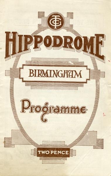 Variety performance programme, Birmingham Hippodrome