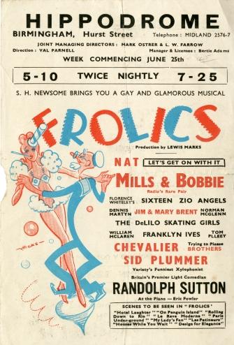 'Frolics' handbill, Birmingham Hippodrome